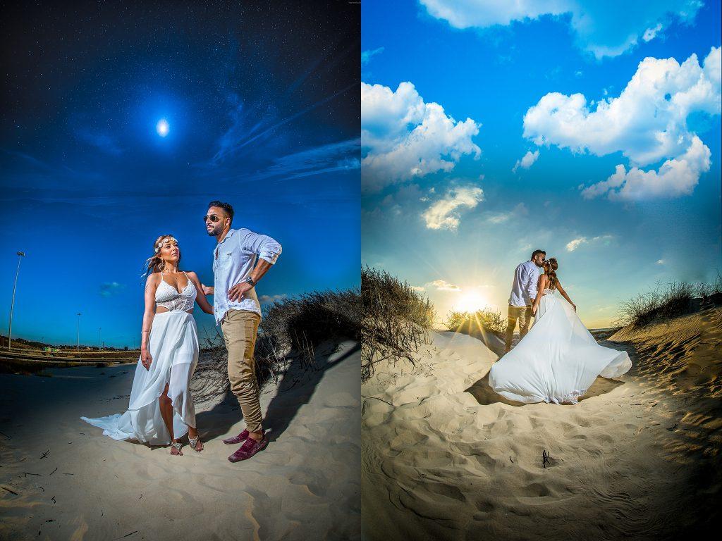 צילומי חתונה על רקע זריחה